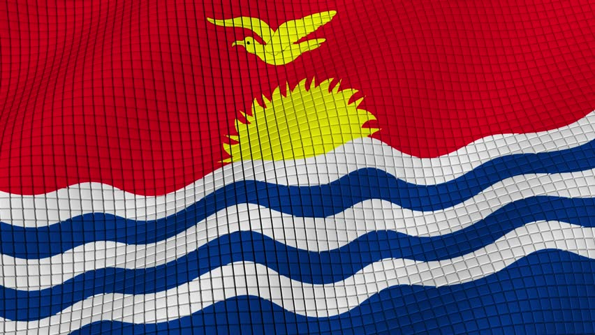 The flag of Kiribati is developing waves. Looped. Full HD 1080.