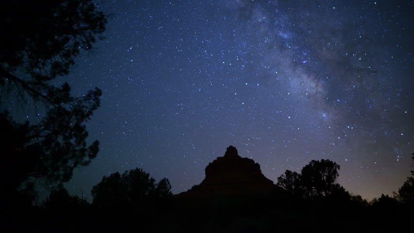 Sedona Milky Way 15 Dolly R and Pan Bell Rock Time Lapse Stars   Shutterstock HD Video #11376056