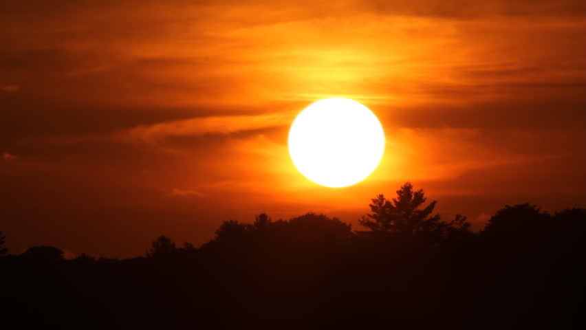 Fast and firey orange summer sunset. Time lapse. Sun sets behind tree. Muskoka, Ontario, Canada.   #11390720