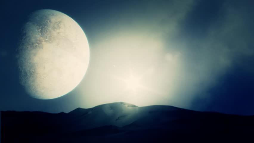 Planet Desert with Big Moon