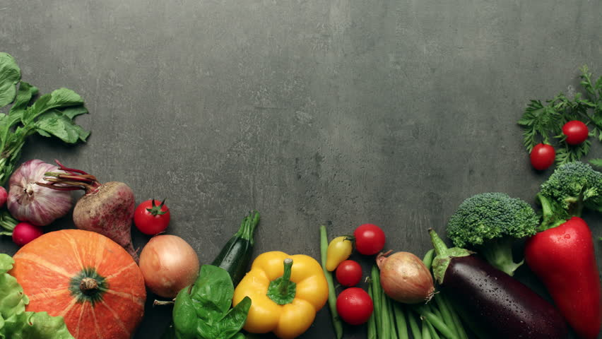 Moving vegetables on kitchen table, harvest background - stop motion animation   Shutterstock HD Video #11400329