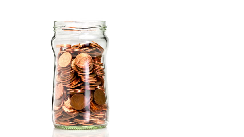 Glass bottle slowly filling with copper coins, isolated on a white background, saving money concept Royalty-Free Stock Footage #11403650