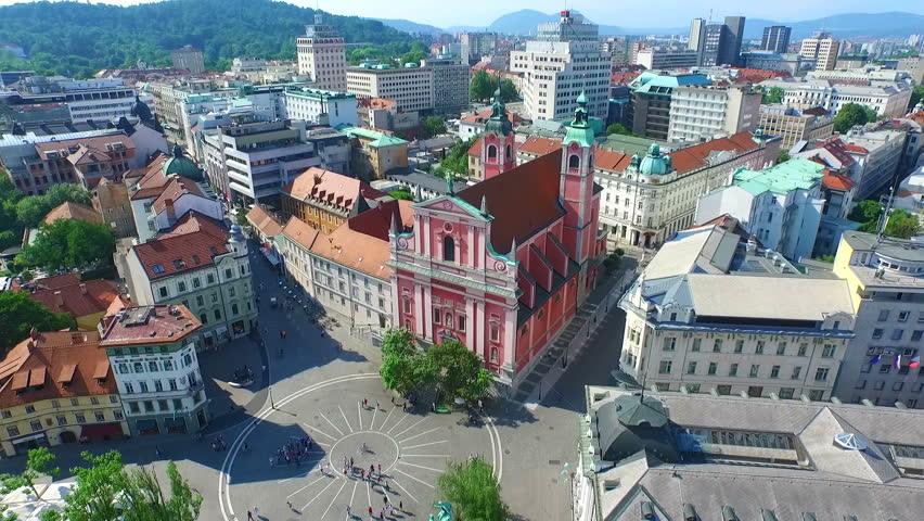 Aerial view of city center in Ljubljana, Slovenia. Royalty-Free Stock Footage #11409254