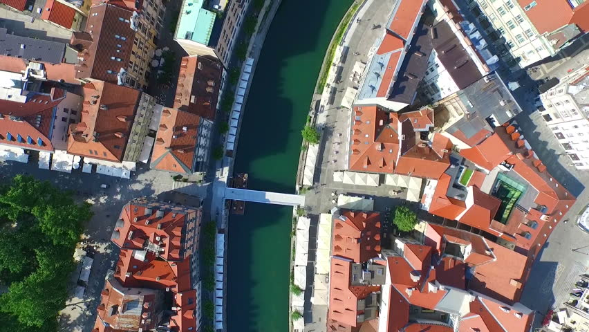Aerial view of beautiful Ljubljana on the river Ljubljanica in Slovenia. Royalty-Free Stock Footage #11409932