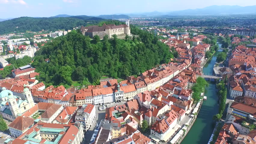 View from above of beautiful fortress Ljubljana Castle on the hill in Slovenia. Royalty-Free Stock Footage #11409986