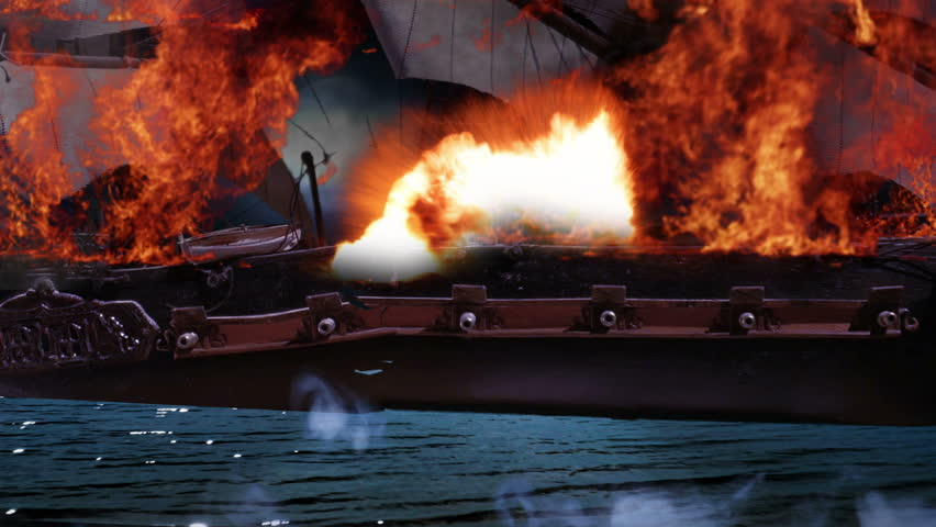 Pirate Colonial Sailboat at War on Fire and Sinking Close Up