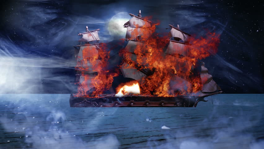 Pirate Colonial Sailboat at War on Fire and Sinking