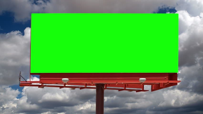Blank billboard with green chroma key and time lapse sky. | Shutterstock HD Video #11446238