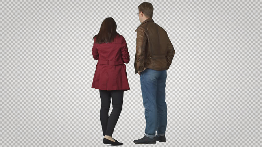 Man & girl stands in winter clothes. Back view. Cut out on transparent background. File format - .mov. Codec - PNG+Alpha. Combine these footage with your background or other people   Shutterstock HD Video #11462069