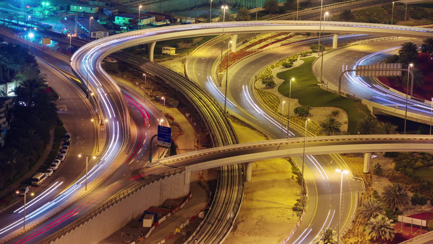 dubai city night illumination traffic road junction 4k time lapse uae #11521082
