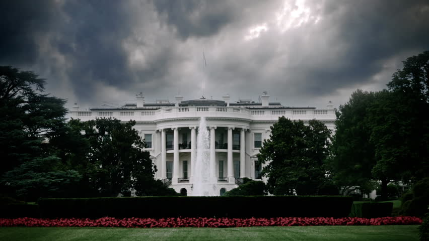Storm clouds looming over the White House in Washington, DC ...