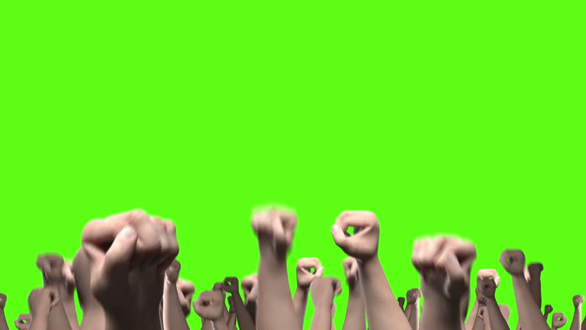 Lots of arms and fists punching the air against green #11534834