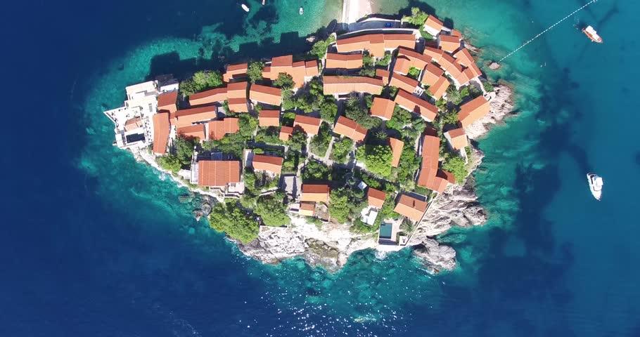 aerial view of the Sveti Stefan, small islet and resort in Montenegro, Balkans, Adriatic sea.