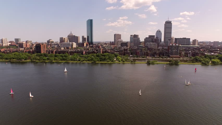 Boston Aerial v19 Flying low over Charles River towards Back Bay.