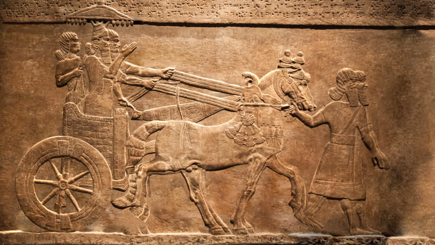 King's hunt. Animated, moving effect of relief from Palace of Assurbanipal in Nineveh, Assyria