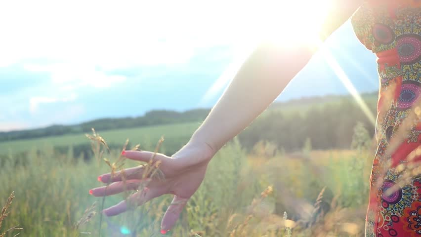 Slowmotion of red-haired woman in long dress walking in a field touching grass with sun rays on summer day goes through sunlight.  1920x1080 | Shutterstock HD Video #11580650