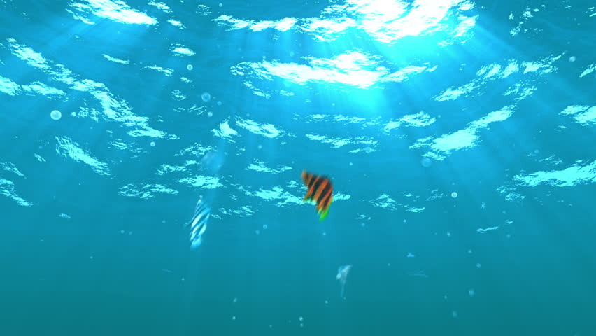 Sunrise over the Earth and Fall into the Sea. Highly detailed beautiful 3d animation. full HD