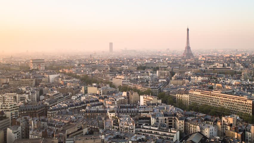 Elevated view of city with the Eiffel Tower in the distance, CIRCA 2015- Paris, France - timelapse | Shutterstock HD Video #11605580