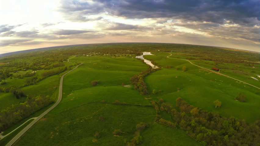 Aerial view of central Kentucky countryside near Georgetown
