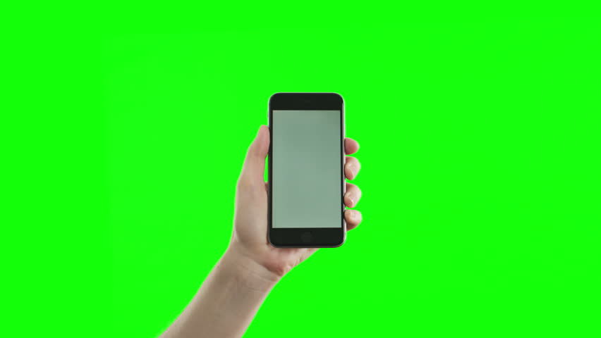 Female hand holding the newest smartphone on green screen. The last phone model.  You can track it easily putting the trackers on the screen corners.  | Shutterstock HD Video #11612690