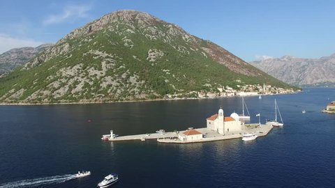 Aerial view Our Lady of the Rocks - Small island in Bay of Kotor