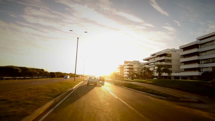Timelapse of road trip during sunset time in Punta Del Este, Uruguay | Shutterstock HD Video #11637443
