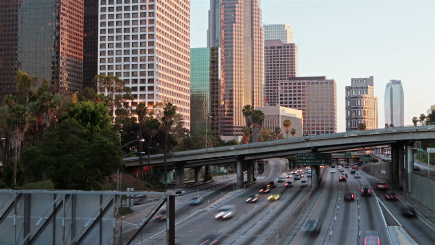 Time lapse of Los Angeles city traffic at sunset   Shutterstock HD Video #11641547