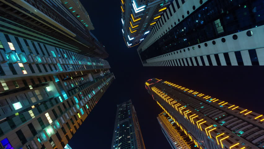 Dubai city night illumination apartment buildings up view 4k time lapse uae   Shutterstock HD Video #11641667