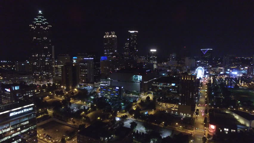 Aerial video of Atlanta Georgia at night