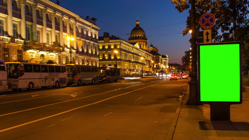 Billboard green screen in St.Petersburg night street. timelapse