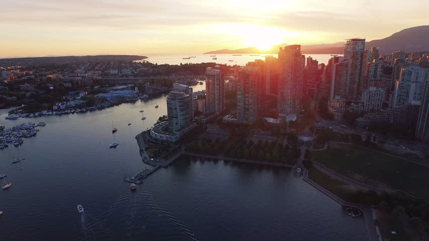 4K aerial shot of Vancouver Skyline at sunset. | Shutterstock HD Video #11672276