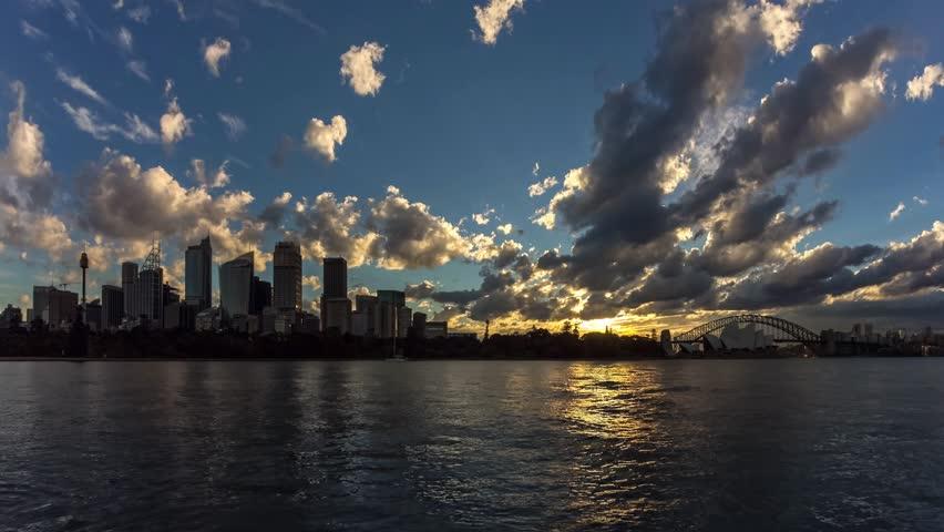Sydney CBD skyline day to night sunset timelapse in 4k