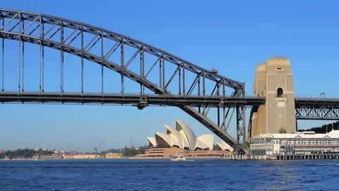 SYDNEY, AUSTRALIA - CIRCA 2014: A static shot of Sydney Harbour Bridge and Sydney Opera House in 4k