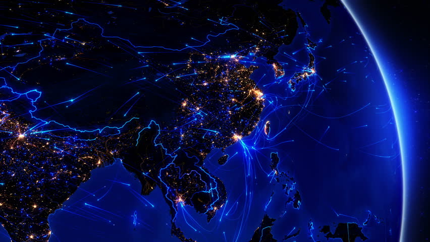 Earth connections. Asia. Japan and China. Animation of the Earth with bright connections and city lights. Aerial, maritime, ground routes and country borders. 2 in 1 file. Dolly and locked. Blue.
