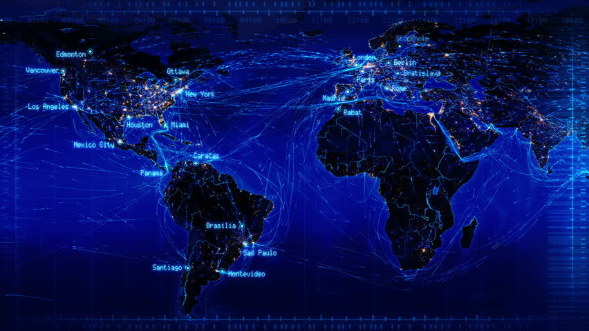 World map with connections and city lights. Loopable world map with major cities names and country borders. Aerial, maritime and ground routes. Blue. More color options in my portfolio.