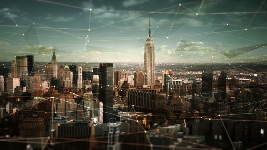 Aerial view of Manhattan Skyline with connections. Technology-Futuristic. Shot of midtown Manhattan at daylight.