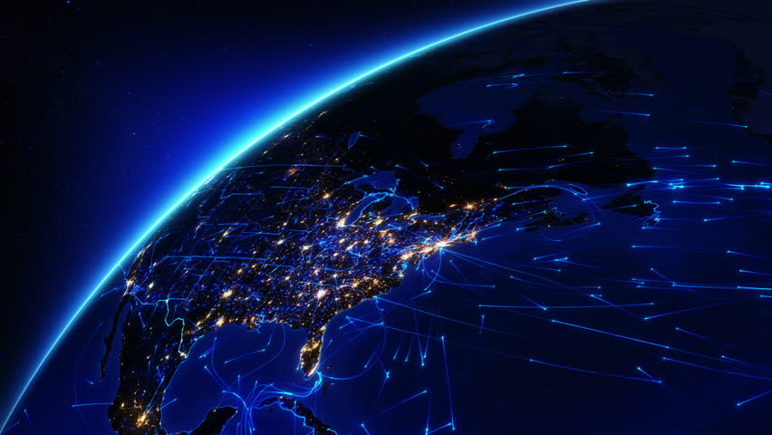 Bright connections moving around Earth. US, with city lights. Aerial, maritime and ground routes. State and country borders. Blue .Images courtesy of http://www.nasa.gov. | Shutterstock HD Video #11728508