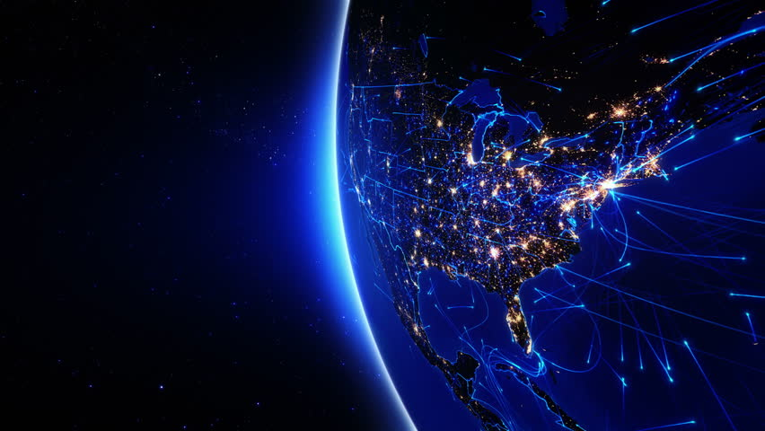 World connections. US. Aerial, maritime and ground routes. State and country borders. Animation of the Earth with bright connections and city lights. 2 shots in 1 file. Locked and dolly. Blue.