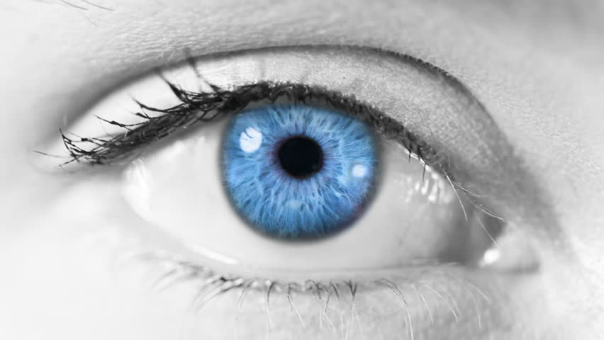 Neuron cell. Eye. Blue. Gray skin. Zoom in from a blue human eye to a neuron cell animation. Science background. More options in my portfolio.
