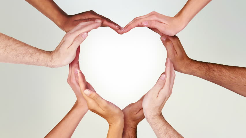 Hands forming a heart. Luma matte. Valentine's Day. Multiracial female and male hands making a heart. Loopable from frame 111 to frame 338. | Shutterstock HD Video #11740499