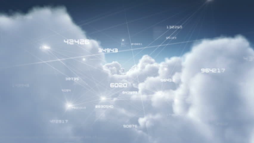 Flying through fluffy clouds with growing social network connections. Day. Loopable. More options in my portfolio.