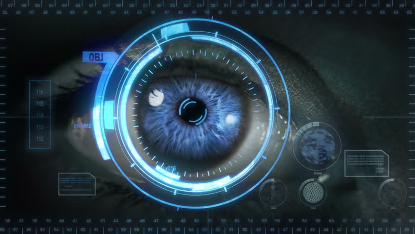 Human eye with futuristic interface. 2 in 1. Blue. Gray skin. Loopable. Technology. Augmented reality. More options in my portfolio. | Shutterstock HD Video #11744600