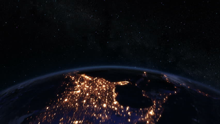 Spinning Earth at night, Northern Hemisphere. Loopable. Beautiful view of the Earth at night with major cities lights. Earth map based on images courtesy of: NASA http://www.nasa.gov.