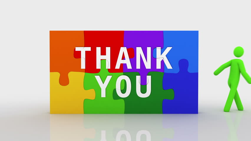 Thank you puzzle. White background. 2 videos in 1 file. 3D characters doing a puzzle with the word THANK YOU over white background. Royalty-Free Stock Footage #11746466