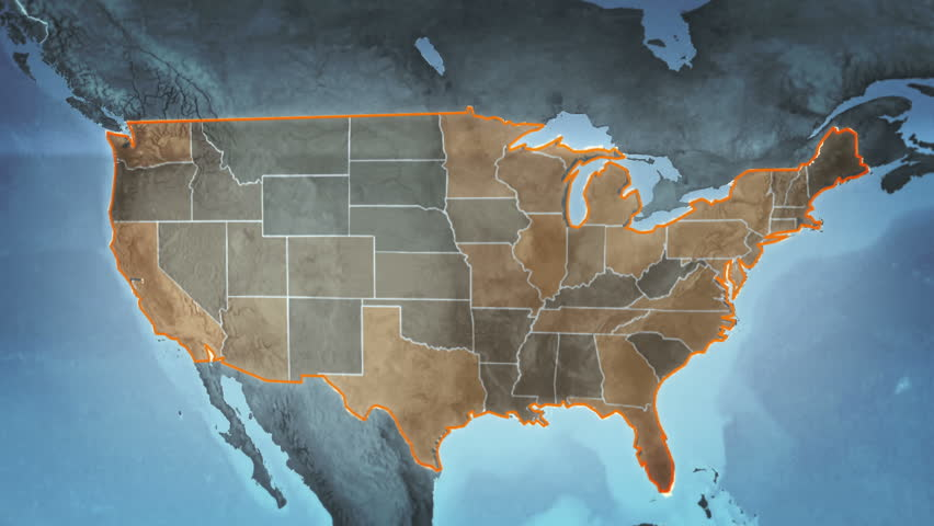 World map with US Airports, Roads and Railroads. Gray. Highly detailed US map. Loopable. More options in my portfolio.