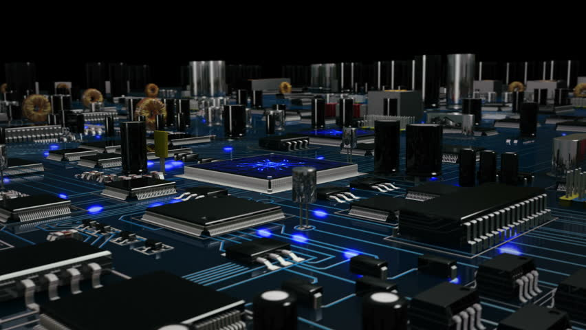 Flying over a futuristic circuit board with moving electrons ending on the CPU. Blue. Technology background. This video is loopable from frame 588 to 851. More options in my portfolio. Royalty-Free Stock Footage #11748728