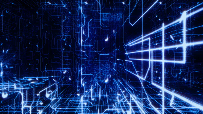 Flying inside a circuit board. Blue electrons moving through it. Loopable. Futuristic background. Network connections. More options in my portfolio. Royalty-Free Stock Footage #11748878