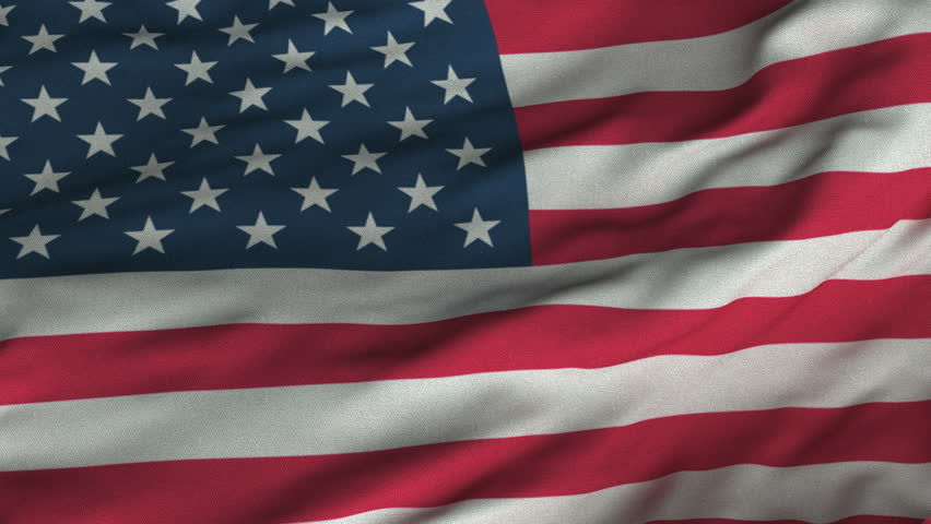 Seamless looping 3D rendering closeup of the flag of the United States.  Flag has a detailed realistic fabric texture and an accurate design and colors.