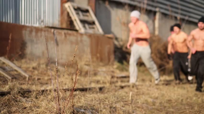 Naked Man Aims His Gun Stock Footage Video (100% Royalty
