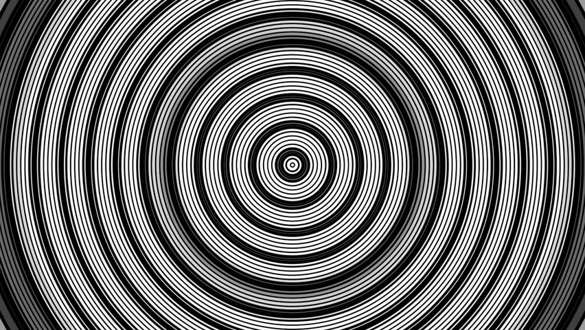 Background target in black and white flicker in concentric circles and red flashing radiation  #11770832